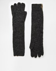 Asos Long Wool Gloves With Circle Zip Detail And Fingertip Converter Charcoal