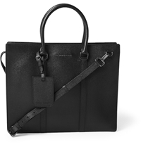 Burberry Structured Cross Grain Leather Briefcase Black