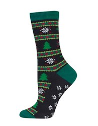 Hot Sox Christmas Tree Fairisle Socks Black