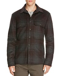 Vince Plaid Military Shirt Jacket H Charcoal Oxblood Red