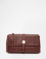 Warehousee Textured Tab Clutch Oxblood