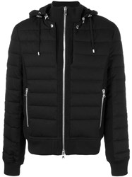 Balmain Quilted Hooded Jacket Black