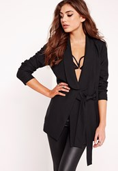 Missguided Drape Tie Front Tailored Blazer Black Black