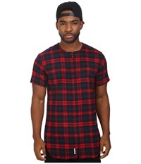 Publish Jerrick Plaid Flannel Short Sleeve Zip Up Woven Red Men's Clothing