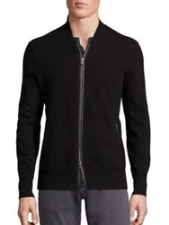 John Varvatos Long Sleeve Merino Wool Blend Baseball Sweater Black