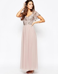 Little Mistress Chiffon Maxi Dress With Sequin Top And Fluted Sleeve Minkcoppersequin