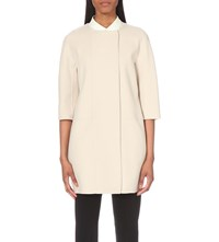 Max Mara Round Neck Wool Coat Ivory