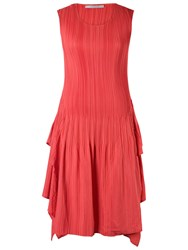 Chesca Double Layer Pleated Sleeveless Dress Coral