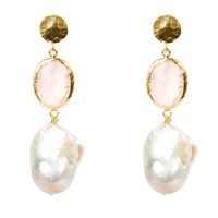 Latelita London Hydra Baroque Pearl And Rose Quartz Hydro Earring Gold Rose Gold Pink Purple