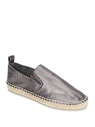 Vince Robin Metallic Leather Espadrille Flats Gunmetal