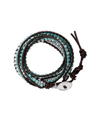Lucky Brand Reconstituted Calcite And Semi Precious Rock Crystal Beaded Wrap Bracelet Turquoise
