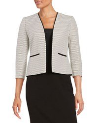 Nipon Boutique Textured Open Front Blazer Luggage Multi