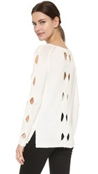 Tess Giberson Cutout Cable Sweater White