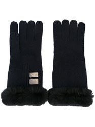 N.Peal Contrast Trim Gloves Blue
