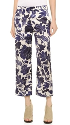 True Royal Wide Leg Cropped Pants Blue Multi