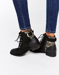 Aldo Buckle Lace Up Flat Boots Black Leather