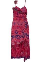 Anna Sui Zandra Printed Crinkled Silk Chiffon Maxi Dress Pink