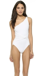 Michael Kors Collection Draped Solids One Shoulder Twist Maillot White
