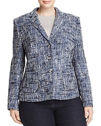 Basler Plus Boucle Tweed Jacket Gray Blue