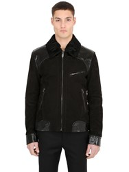 Ettore Bugatti Collection Nubuck And Embossed Leather Biker Jacket