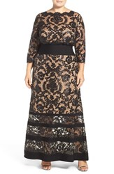 Tadashi Shoji Plus Size Women's Banded Jersey Sequin Embroidered Lace Blouson Gown