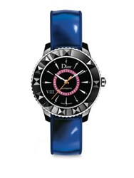 Christian Dior Dior Viii Limited Edition Pink Sapphire Black Ceramic And Leather Automatic Watch Blue Multi