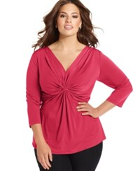 Ny Collection Plus Size Three Quarter Sleeve Twist Front Top Azalea