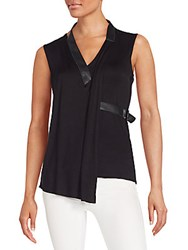 Bailey 44 Faux Leather Trimmed Draped Stretch Jersey Top Black
