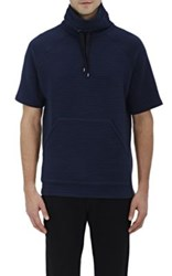 Barneys New York Men's Funnel Neck Short Sleeve Sweatshirt Navy