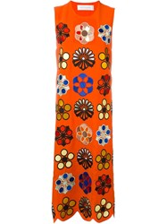 Victoria Victoria Beckham Embroidered Floral Dress Yellow And Orange
