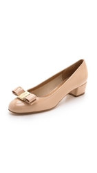 Salvatore Ferragamo Vara Low Heel Pumps New Bisque
