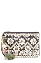 Steve Madden Steven By Beaded Shell Clutch Black