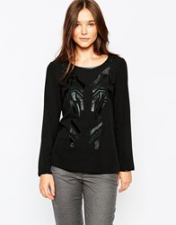 See U Soon Long Sleeve Top With Embroidred Faux Fur Detail Black