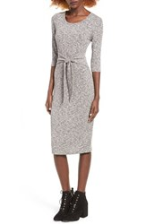 Everly Women's Tie Front Knit Midi Dress Charcoal