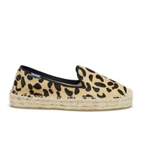 Soludos Women's Calf Hair Platform Espadrille Smoking Slippers Leopard Print Tan