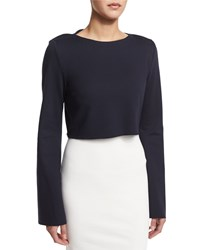 Nicholas Ponte Long Sleeve Crop Top Navy