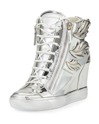 Giuseppe Zanotti Metallic Leaf High Top Wedge Sneaker Silver Size 37.5B 7.5B