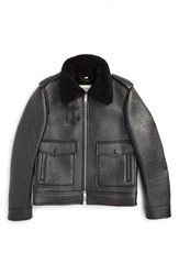 Men's Burberry London 'Blueford' Genuine Shearling Collar Leather Jacket