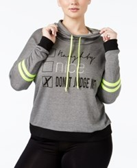 Material Girl Active Plus Size Turn It Up Graphic Hoodie Only At Macy's Charcoal