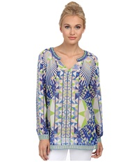 Hale Bob Psychedelic City Long Sleeve Blouse Lime Women's Blouse Green