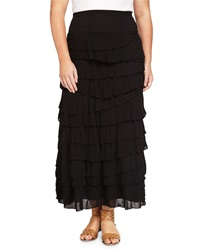 Chelsea And Theodore Plus Tiered Ruffle A Line Maxi Skirt Black