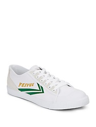 Feiyue Fe Lo Ii Canvas And Leather Sneakers White Green