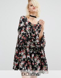 Reclaimed Vintage Tiered Smock Dress With Frill Insert In Floral Black