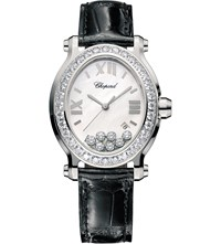 Chopard Happy Sport Oval Stainless Steel Diamond And Alligator Leather Watch