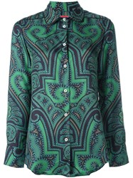 For Restless Sleepers Abstract Print Shirt Green
