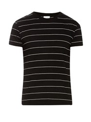 Saint Laurent Striped Cotton Jersey T Shirt Black Multi