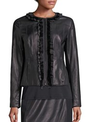 Elie Tahari Cam Leather And Merino Wool Jacket Black