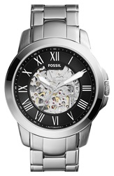 Fossil 'Grant' Automatic Bracelet Watch 45Mm Silver Black