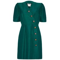 Yves Saint Laurent Vintage 1980S Green Silk Button Up Dress