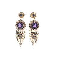 Van Andel And Peace Fine Jewellery Agni Earrings Gold Amethysts And Diamonds Blue Gold Pink